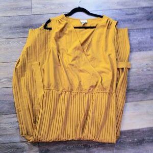 Ava & Viv mustard yellow pleated dress